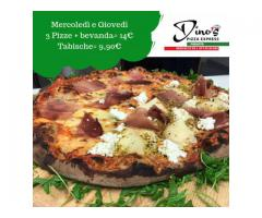 3 pizze e bevanda 14 Euro - Tabisca 9,90 Euro